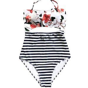 Striped Orange Lillies Floral Halter Swimsuit